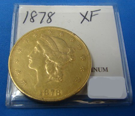 629: 1878 $20.00 Liberty Head Gold Coin  XF