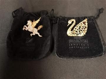 Swarovski Crystal Brooch Pin Pair Pegasus & Swan