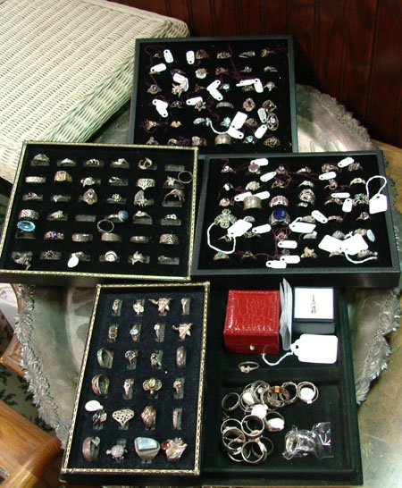 32: Lot of 160+ sterling silver rings