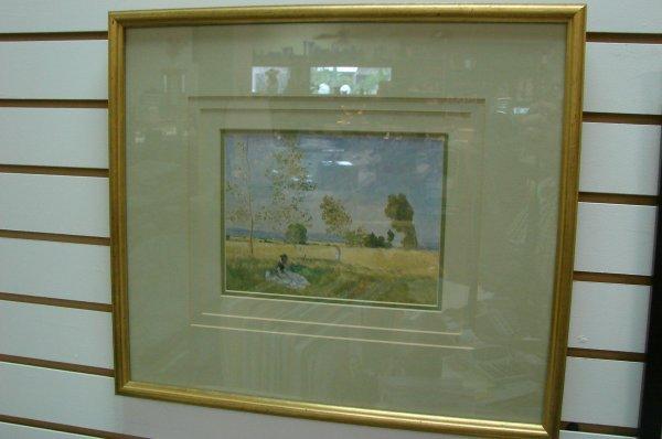 """160: Framed Monet print """"Summer"""" Ethan Allen"""