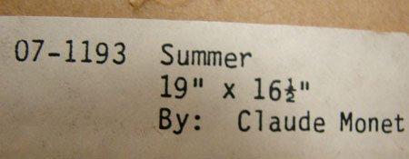 """160: Framed Monet print """"Summer"""" Ethan Allen - 3"""