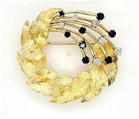 18kt yellow gold sapphire and diamond wreath pin