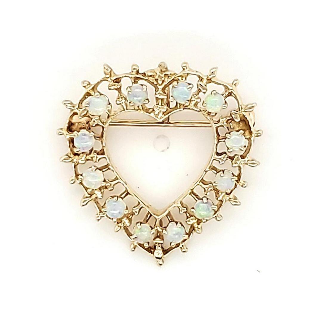 14kt yellow gold opal heart pin/ pendant