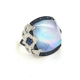 18kt white gold sapphire and mother of pearl ring