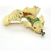 18kt yellow gold enameled koi fish brooch
