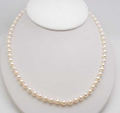 """3: 18"""" 6.5mm pearl strand 14ky clasp"""