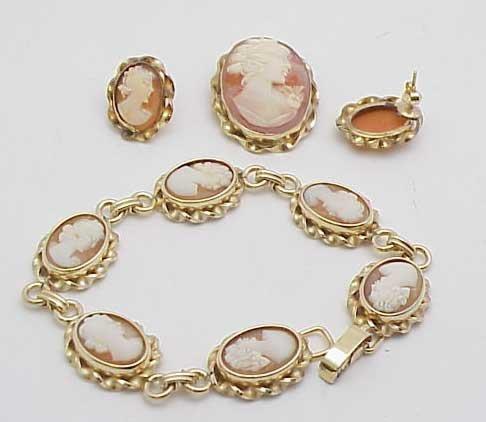 15: Cameo ears, bracelet, pin Jewelry