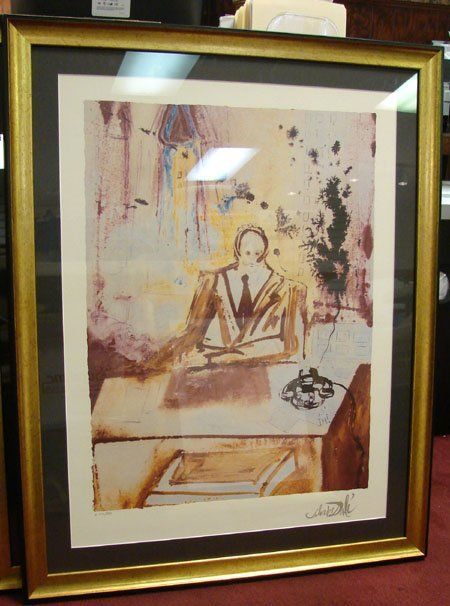 Dali The Business Man Print Signed Frmd