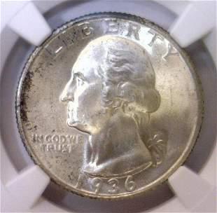 1936 Washington Silver Quarter NGC MS65