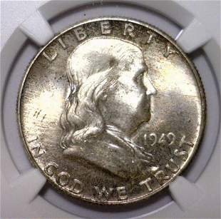 1949 Franklin Silver Half NGC MS65 FBL
