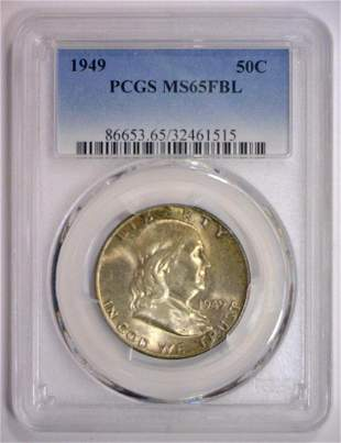 1949 Franklin Silver Half PCGS MS65 FBL
