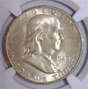 1949-D Franklin Silver Half NGC MS64 FBL