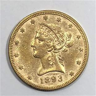 1893 $10 Liberty Gold Coin AU+