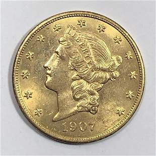 1907 $20 Liberty Gold Coin  AU