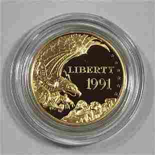 1991 $5 Mt. Rushmore Proof Gold Coin