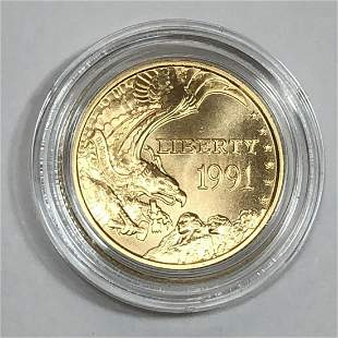 1991 $5 Mt. Rushmore Uncirculated Gold Coin