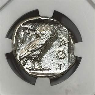 Attica Athen Owl AR Tetradrachm NGC Ch AU