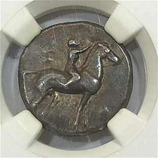 Calabria Taras AR Didrachm Horse Dolphin NGC Ch VF