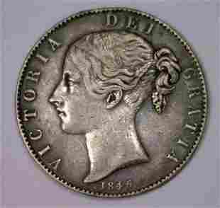 1845 Silver Crown Great Britain KM #741  VF