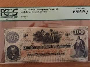 1862 $100.00 CSA Contemporary Counterfeit