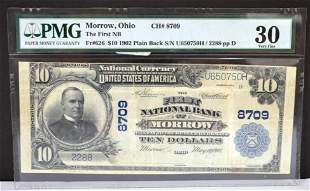 1902 $10 Morrow OH 1st National Bank Note PMG VF35