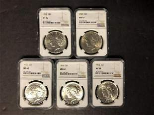 Dealer Lot of 5 1924 Peace Silver $1 NGC MS62