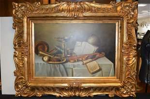 Large Framed Still Life on Stretched Canvas
