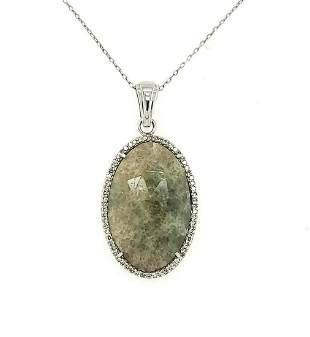 14kt white gold diamond and chalcedony necklace