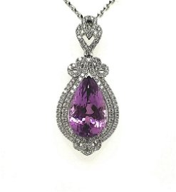 14kt white gold kunzite and diamond pendant
