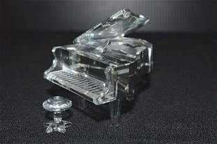 Swarovski Cut Clear Crystal Grand Piano & Stool