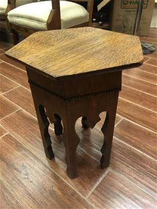 Vintage Solid Oak Hexagon End Table Night Stand