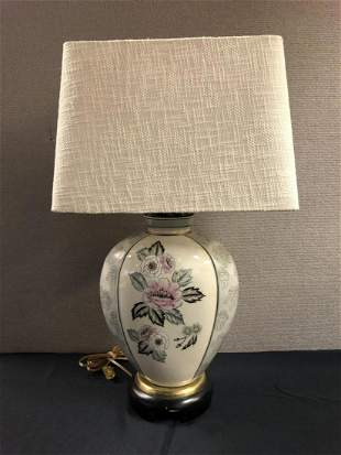 Porcelain, Wood Brass Table Lamp with Shade