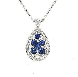 Ladies 14kt White Gold Sapphire & Diamond Pendant