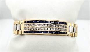 14kt yellow gold sapphire and diamond bracelet