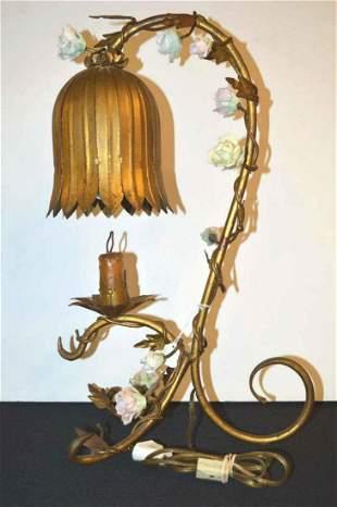 Vintage Wrought & Pressed Metal Lamp with Ceramic