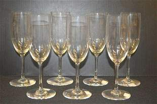 Set of 7 Clear Crystal Baccarat Fluted Champagne
