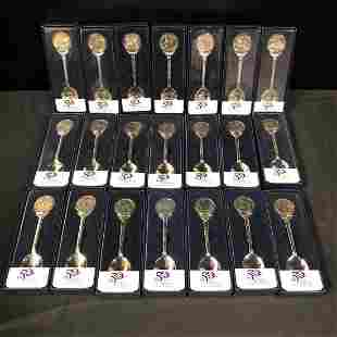 Lot of 21 US Mint Souvenir State Quarter Spoons