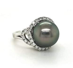 Platinum Tahitian pearl and diamond ring