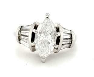 Platinum marquise cut diamond engagement ring