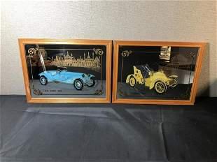 Pair Of Wood Frame Vintage Car Wall Mirrors