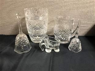 Five Cut Glass Pieces Lot Vase Pitcher Bells