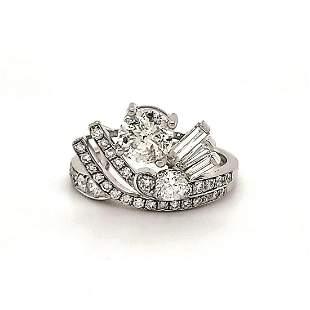 Platinum diamond fashion ring