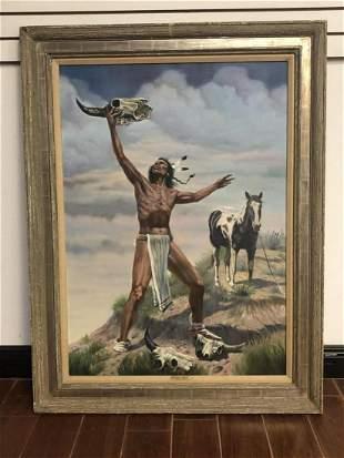 """Gregory Perillo Original Oil """"Native Indian"""""""