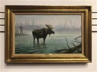 "Gregory Perillo Original Oil ""Moose"" Framed 36x24"