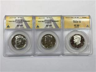 2014 P&D High Relief & S Proof Kennedy Half Set