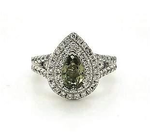 Platinum alexandrite and diamond ring