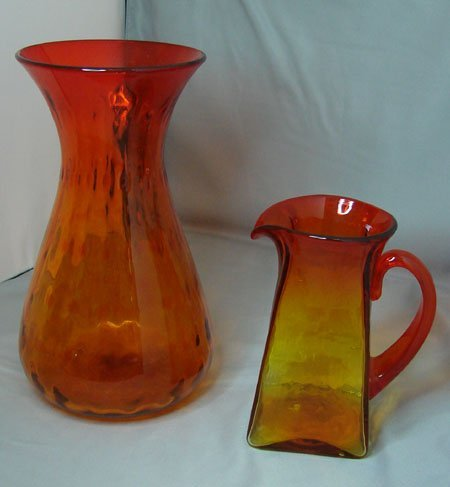 4: Amberina Vase and Handled Pitcher