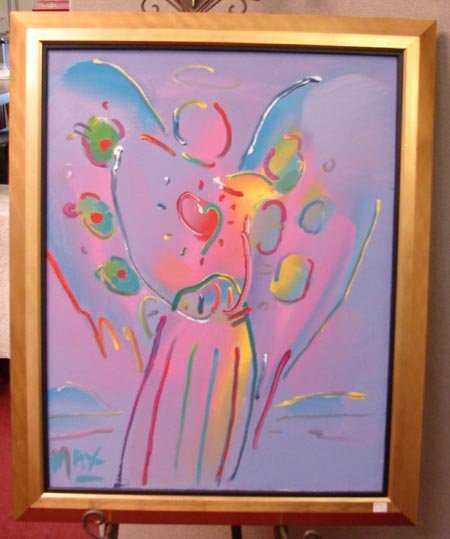 87: Angel With Heart Peter Max Orig.Acrylic
