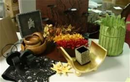 1 Misc Box Lot  Candle holder salad bowls etc
