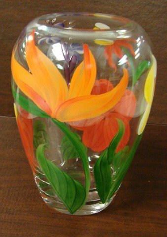 """2: Heavy hand painted Glass Vase 9 1/2 tall"""""""